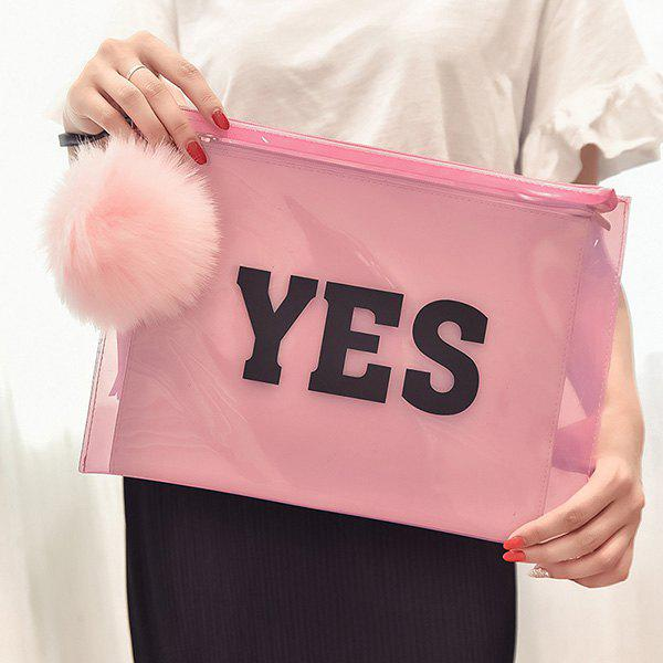 Trendy Transparent Plastic and Letter Print Design Women's Clutch Bag - PINK