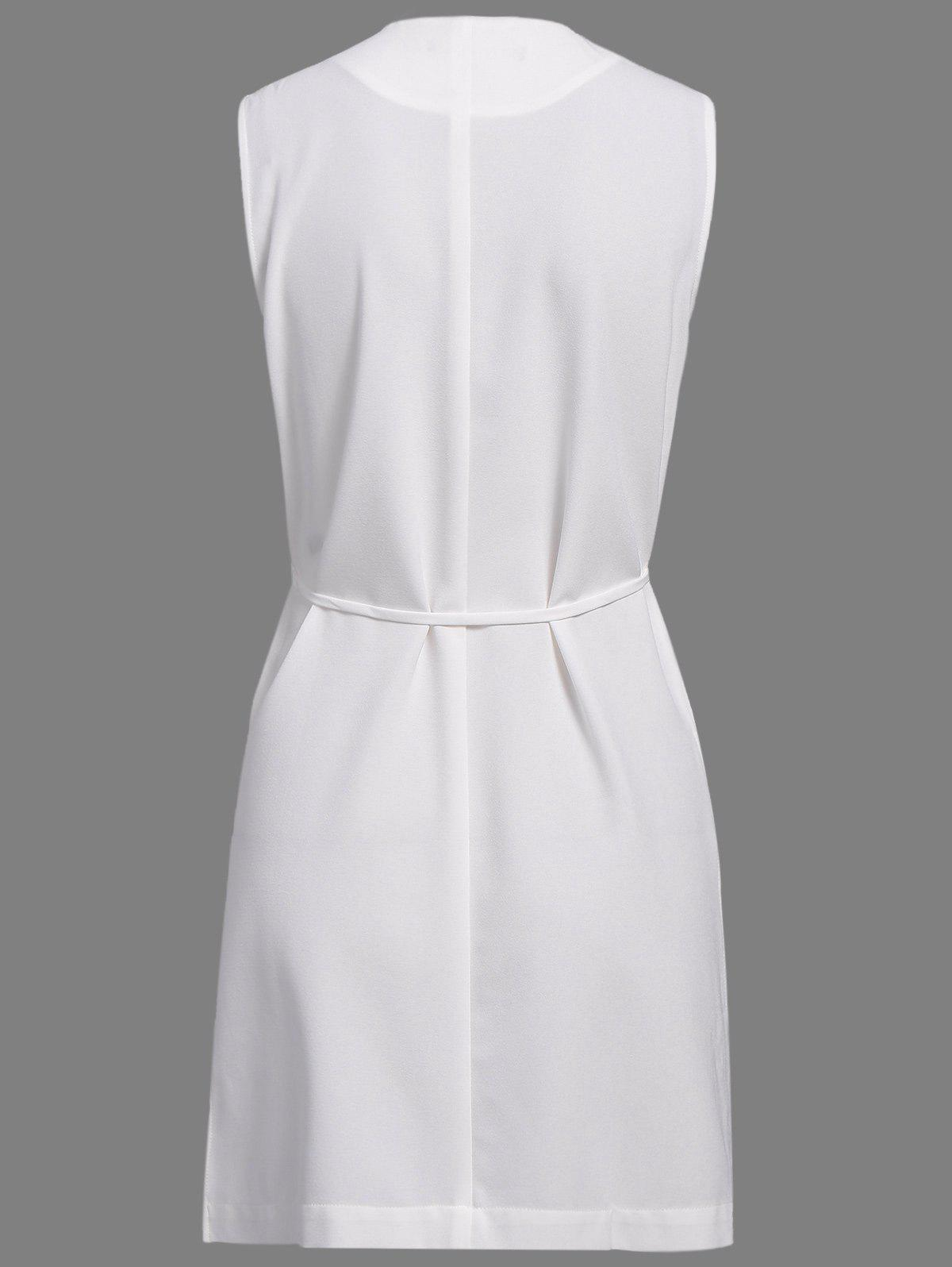 OL Style Solid Color Turn-Down Collar Slit Vest For Women - OFF WHITE S