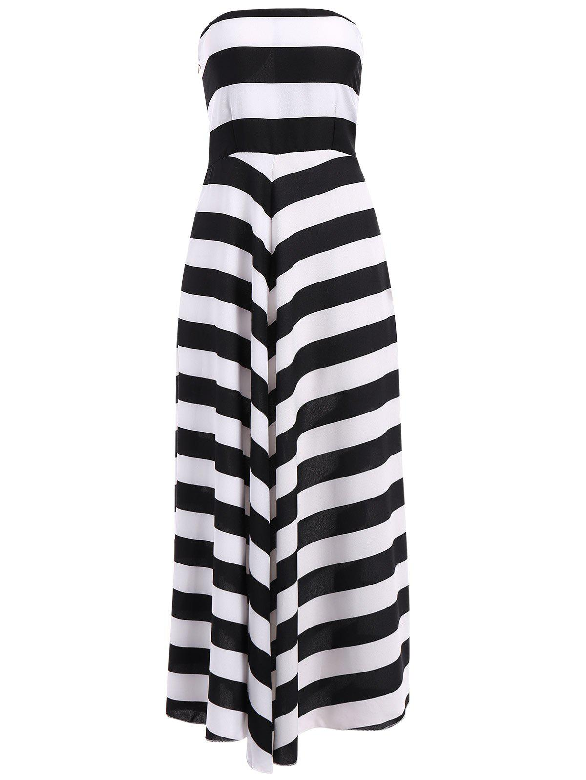 Trendy Nipped Waist Color Block Striped Strapless Maxi Dress women color block striped print tie waist dress
