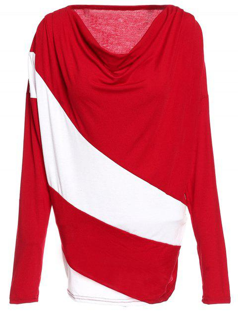 Cowl Neck Color Block Long Sleeve T-Shirt - WINE RED XL