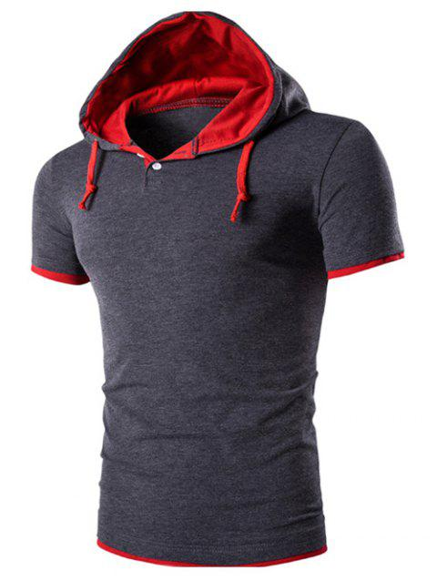 Men's Hooded Color Flase Twinset Short Sleeve T-Shirt - DEEP GRAY L