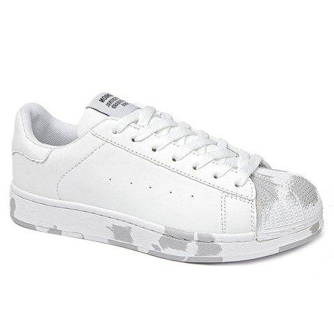 Sports Style Round Toe and PU Leather Design Men's Casual Shoes - WHITE 41