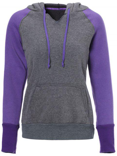 Casual Style Long Sleeve Hooded Front Pocket Design Spliced Women's Pullover Hoodie - PURPLE S