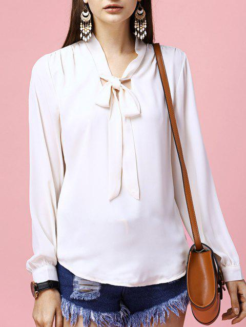 Fashionable Long Sleeve Solid Color Bowknot Tie Women's Blouse - OFF WHITE M