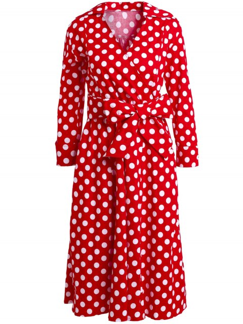 Retro Style Polka Dot Printed 3/4 Sleeve Bowknot Belted Ball Gown Dress For Women - RED XL