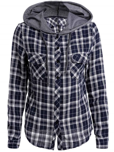 Attractive Plaid Printed Hooded Long Sleeve Buttoned Hoodie For Women - DEEP BLUE S