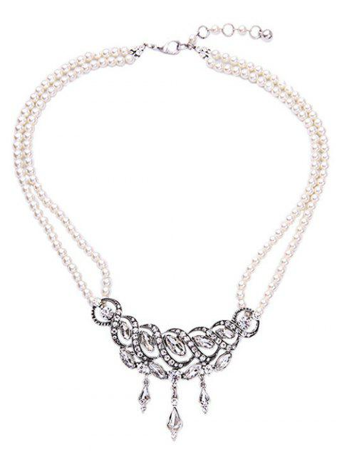 Spiral Faux Crystal Pearl Necklace - WHITE