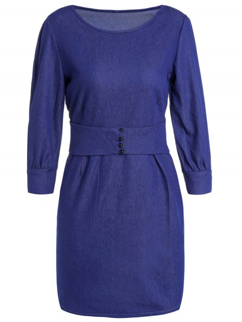 Stylish Women's Jewel Neck 3/4 Sleeve Bodycon Denim Dress - DEEP BLUE 2XL