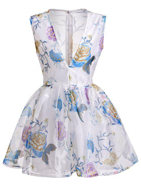 Plongeant Sexy Neck manches See-Through Flower Motif Dress - Blanc XL