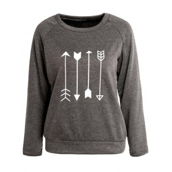Long Sleeve Print Sweatshirt For Women - GRAY M
