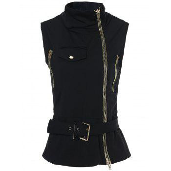 Stylish Sleeveless Stand-Up Collar Solid Color Zipper Embellished Women's Waistcoat