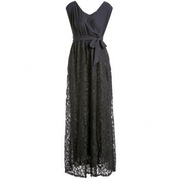 Black V-Neck Lace Spliced Sleeveless Dress For Women