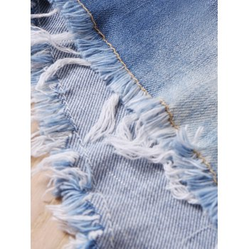 Women's Low-Waisted Bleach Wash Fringed Mini Jeans - M M