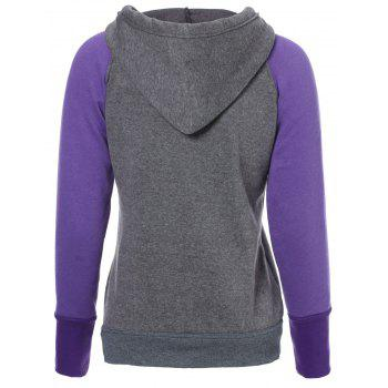 Casual Style Long Sleeve Hooded Front Pocket Design Spliced Women's Pullover Hoodie - PURPLE XL