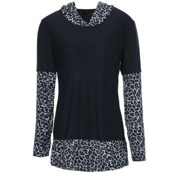 Sexy Leopard Hooded Long Sleeve T-Shirt For Women