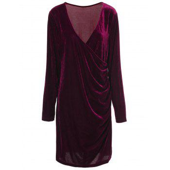 Sexy V-Neck Long Sleeve Solid Color Bodycon Mini Velvet Dress For Women