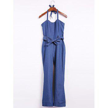 Elegant Blue Halter Sleeveless Jumpsuit For Women