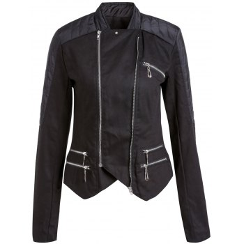 Stylish Long Sleeve Stand-Up Collar Asymmetrical Women's Motorcycle Jacket