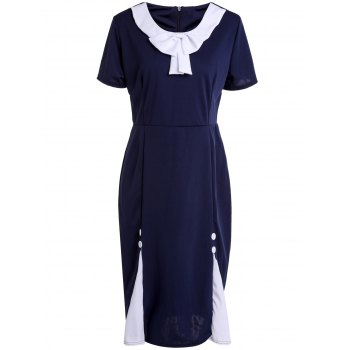 Vintage Scoop Neck Short Sleeve Slimming Bowknot Embellished Women's Dress