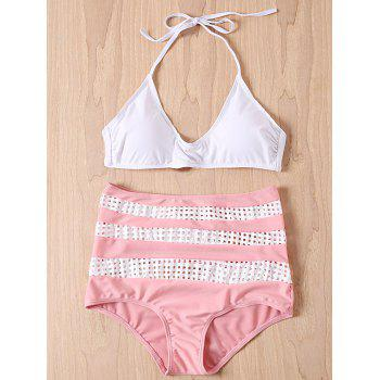 Sexy Sleeveless Halter Spliced Women's High-Waisted Bikini Set