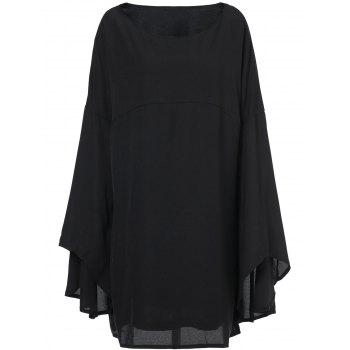 Stylish Black Boat Neck Long Bell Sleeve Plus Size Dress For Women