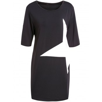 Casual Half Sleeve Round Neck Star Dress - BLACK S
