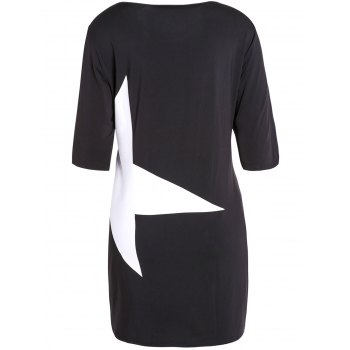 Casual Half Sleeve Round Neck Star Dress - S S