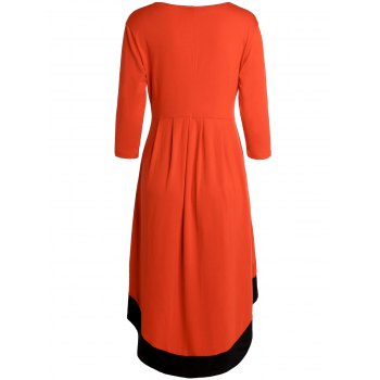 Chic 3/4 Sleeve Round Neck Asymmetrical Women's Dress - 2XL 2XL