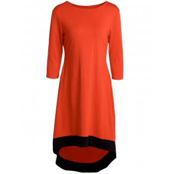 Chic 3/4 Sleeve Round Neck Asymmetrical Women's Dress - RED RED