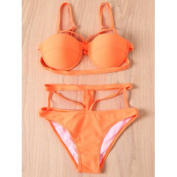 Sexy Spaghetti Strap Solid Color Bandage Women's Bikini Set - ORANGE ORANGE