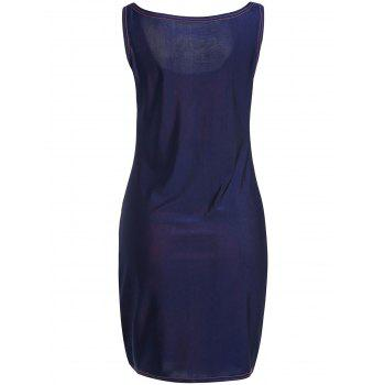 Sexy U-Neck Sleeveless Color Block Low Cut Women's Dress - DEEP BLUE DEEP BLUE