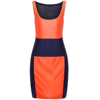 Sexy U-Neck Sleeveless Color Block Low Cut Women's Dress