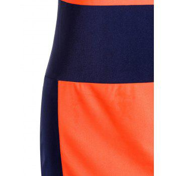 Sexy U-Neck Sleeveless Color Block Low Cut Women's Dress - M M