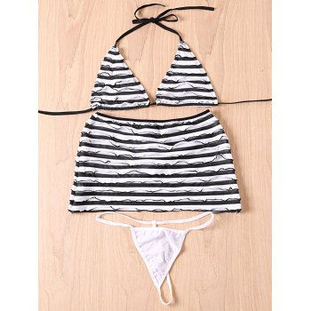 Halter Zebra Striped Three-Piece Swimsuit