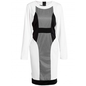 Stylish Women's Jewel Neck Long Sleeve Mesh Spliced Plus Size Dress