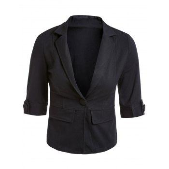 Buy Casual Lapel 3/4 Sleeve One-Button Solid Color Women's Blazer BLACK