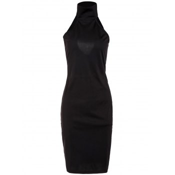Black Turtleneck Open Back Sleeveless Dress For Women