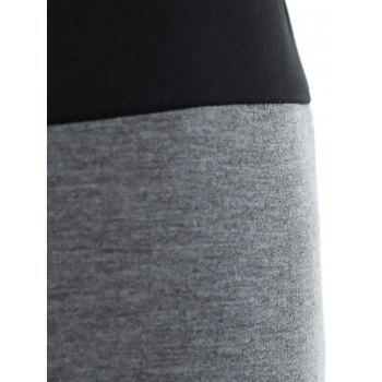 Sexy Long Sleeve Scoop Neck Single-Breasted Crop Top + Shorts Women's Twinset - GRAY M
