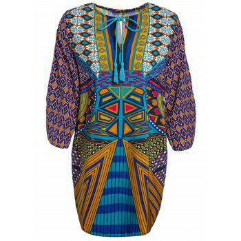 Women's  Lace-Up Ethnic Print V-Neck Dress