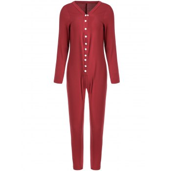 Trendy Solid Color Buttoned Long Sleeve Bodycon Ankle Jumpsuit For Women