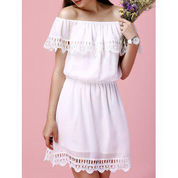 Off The Shoulder Flounce Crochet Trim Ladylike Women's Chiffon Dress