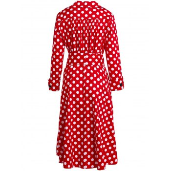 Retro Style Polka Dot Printed 3/4 Sleeve Bowknot Belted Ball Gown Dress For Women - RED S