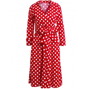 Retro Style Polka Dot Printed 3/4 Sleeve Bowknot Belted Ball Gown Dress For Women