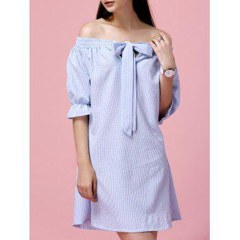 Off The Shoulder Bowknot Vertical Striped Alluring Women's Dress