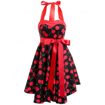 Vintage Halter Sleeveless Cherry Print Women's Dress