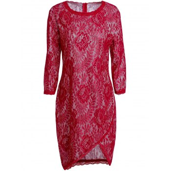 Chic Jewel Neck 3/4 Sleeve Irregular Slit Bodycon Hollow Out Lace Dress For Women