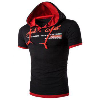 Men's Hooded Solid Color Letter Printed Short Sleeve T-Shirt