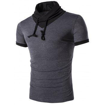 Buy Men's Stand Collar Solid Color Short Sleeve T-Shirt DEEP GRAY