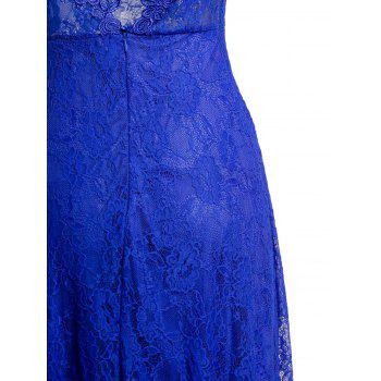 Sexy Lace sans manches Plunging Neck Backless Women's 's Robe - Bleu S