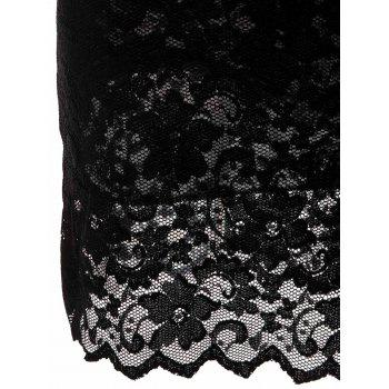 Solid Color 3/4 Sleeve Lace Round Neck Dress For Women - BLACK M